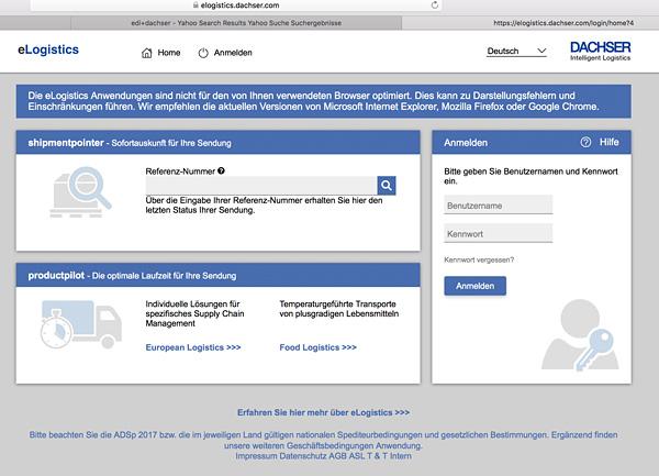 Softzoll-EDI-Dachser/eLogistics Portal