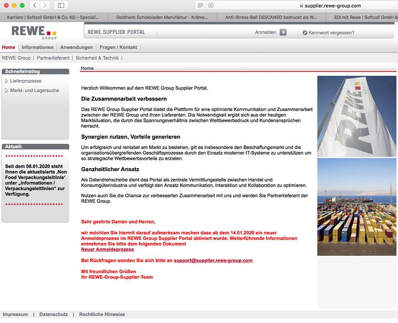 Softzoll-EDI/Rewe-Supplier-Portal